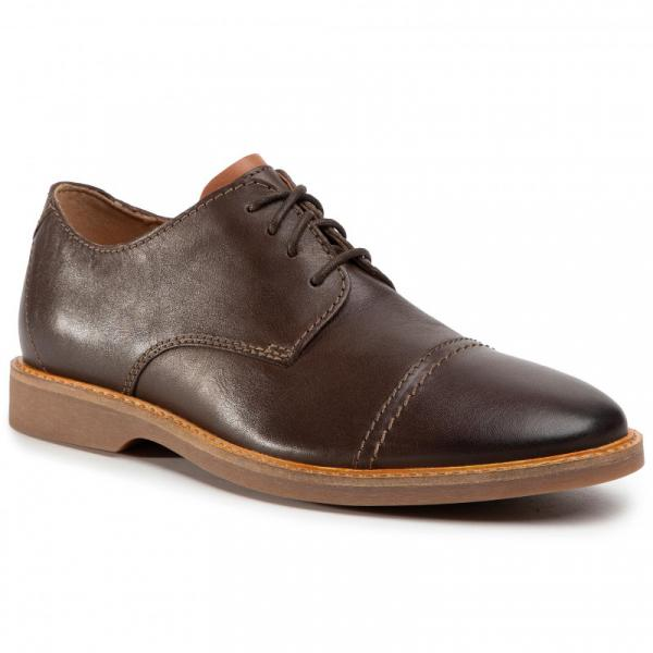 CLARKS Atticus Cap Dark Brown Lea
