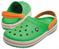 Crocband Grass Green / White / Blazing Orange